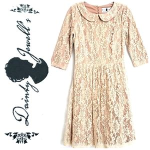 NWOT Dainty Jewell's 3/4 LS Tan/Creme Lace…